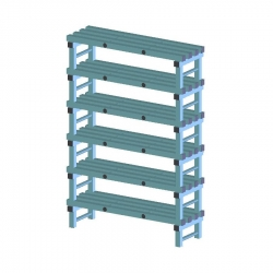 REA Plastic Racking Static 1000 x 400 x 1750mm - 6 shelf