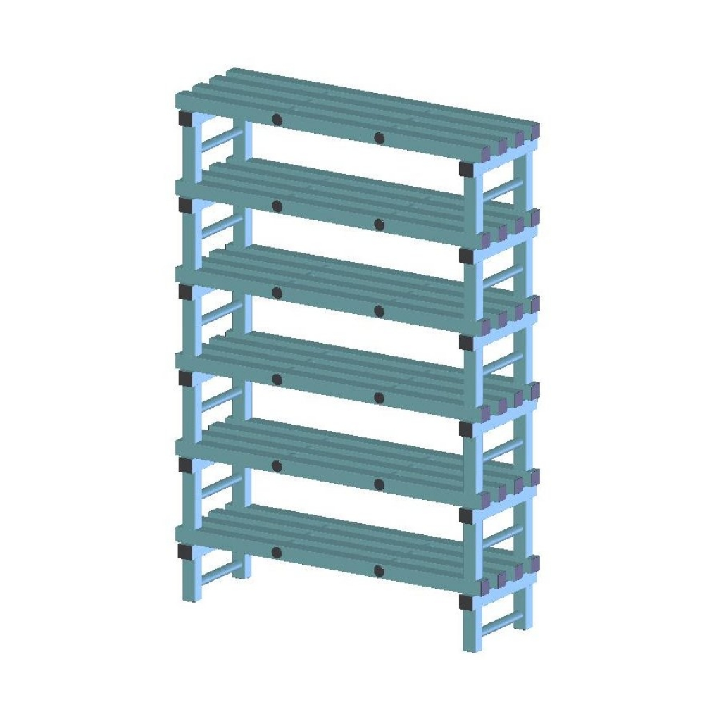 REA Plastic Racking Static 1200 x 400 x 1750mm - 6 shelf