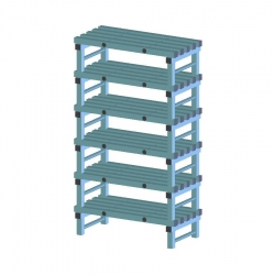 REA Plastic Racking Static 1000 x 500 x 1750mm - 6 shelf