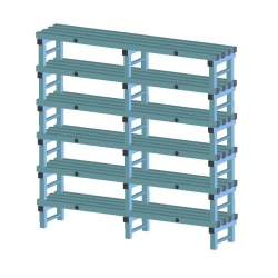 REA Plastic Racking Static 2000 x 400 x 1750mm - 6 shelf