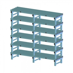 REA Plastic Racking Static 1500 x 500 x 1750mm - 6 shelf