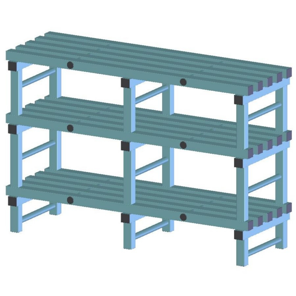 REA Plastic Racking Static 1800 x 500 x 1050mm - 3 shelf