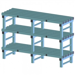 REA Plastic Racking Static 1500 x 500 x 1450mm - 3 shelf