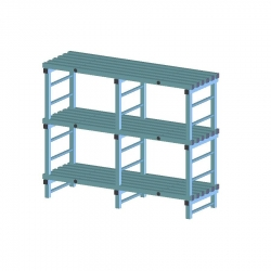 REA Plastic Racking Static 1500 x 600 x 1250mm - 3 shelf