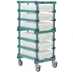 Euro Container Trolley 540 x 660 x 1480mm Single - 6 tier