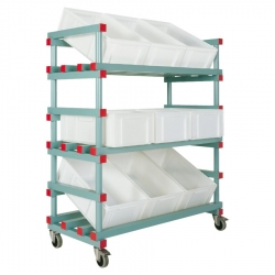 Display Container Trolley 1380 x 600 x 1230/1480mm - 9 box