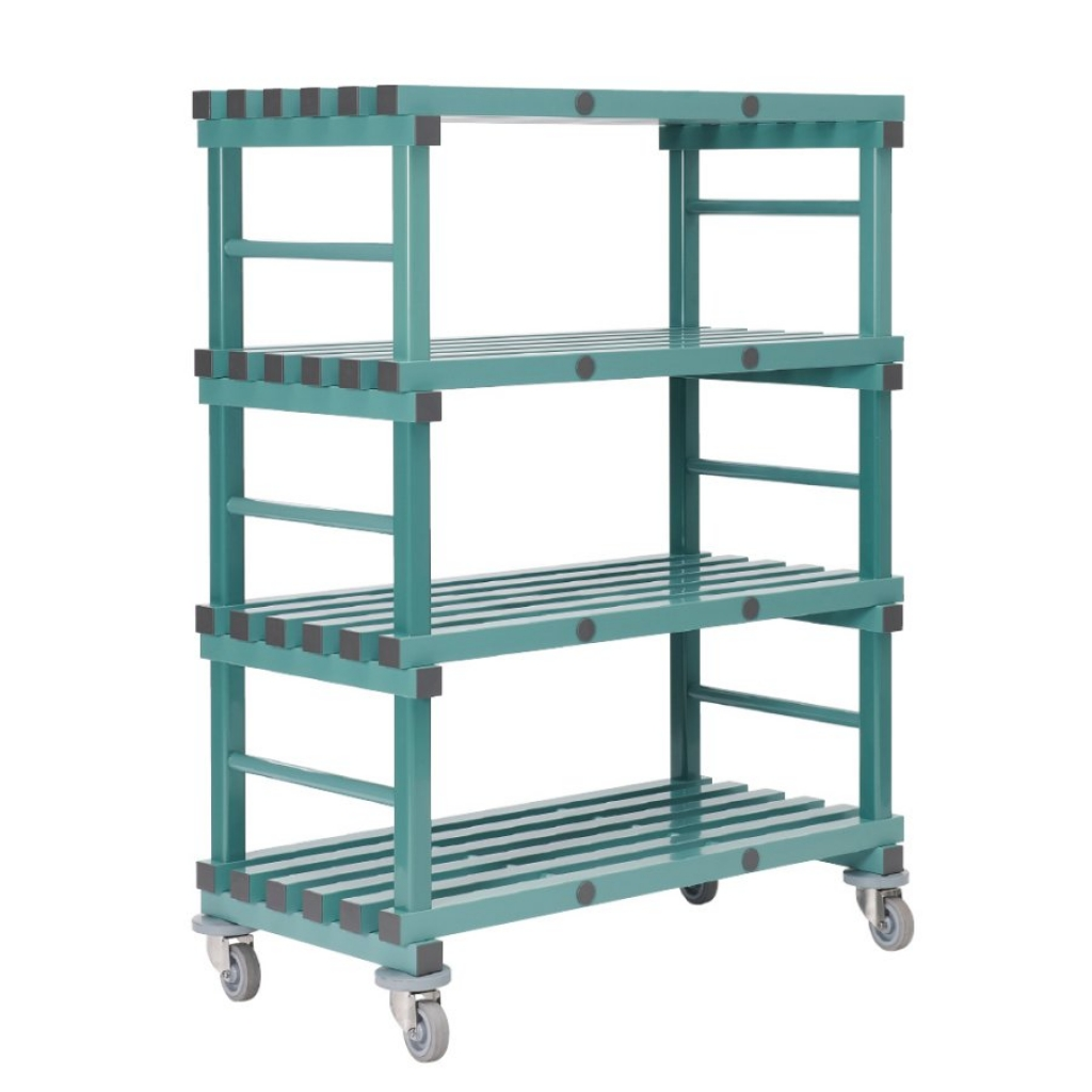 Mobile REA Plastic Racking 1200 x 400 x 1580mm - 4 shelf