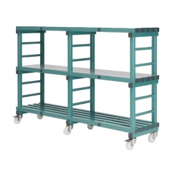 Mobile REA Plastic Racking 1500 x 400 x 1330mm - 3 shelf