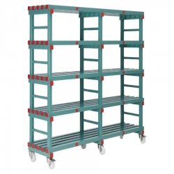 Mobile REA Plastic Racking 1500 x 400 x 1430mm - 5 shelf