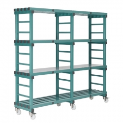 Mobile REA Plastic Racking 1500 x 600 x 1430mm - 4 shelf