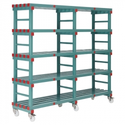 Mobile REA Plastic Racking 1800 x 600 x 1630mm - 5 shelf