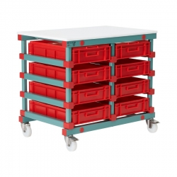 Mobile Prep Table 993 x 660 x 960mm Double - Euro 8 tray