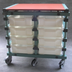 Mobile Prep Table 983 x 660 x 960mm Double - Uni-Box 8 tray