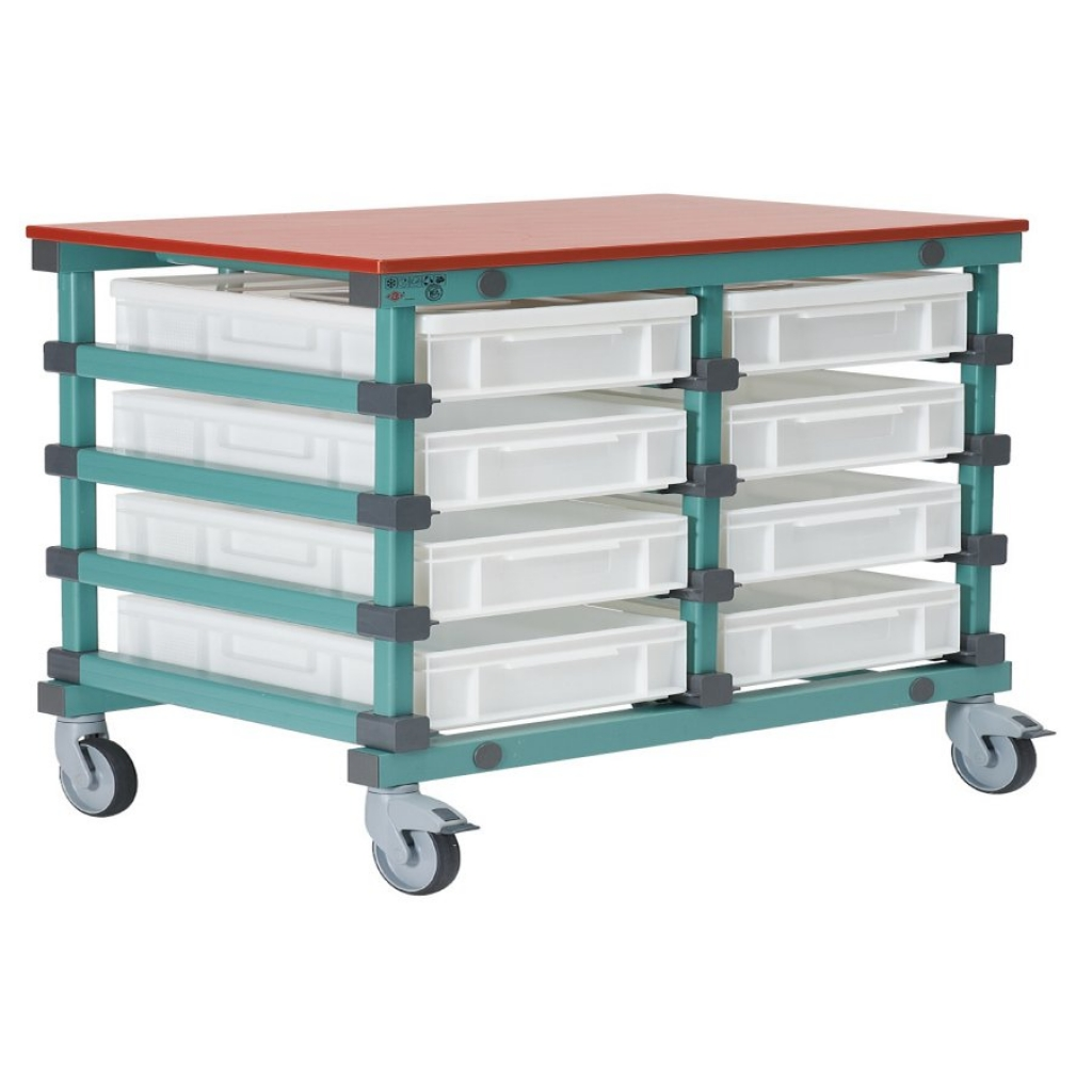 Mobile Prep Table 1103 x 830 x 960mm Double - Bakery 8 tray