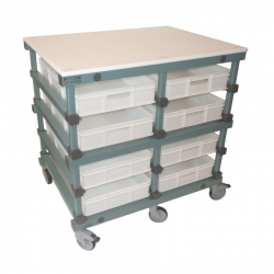 Mobile Prep Table 1103 x 830 x 1110mm Double - Bakery 8 tray