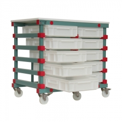 Mobile Prep Table 993 x 660 x 960mm Double - Euro 10 tray