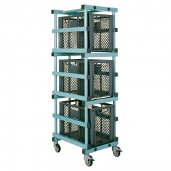 Equipment Storage Trolley - 3 box Small 540 x 660 x 1800mm
