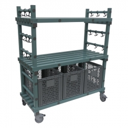 Hanging Equipment Trolley 1380 x 600 x 1460/1610mm - 3 box