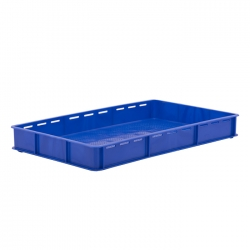 BT111C - Bakery tray 765 x 455 x 90mm solid sides & slots long sides, perforated base