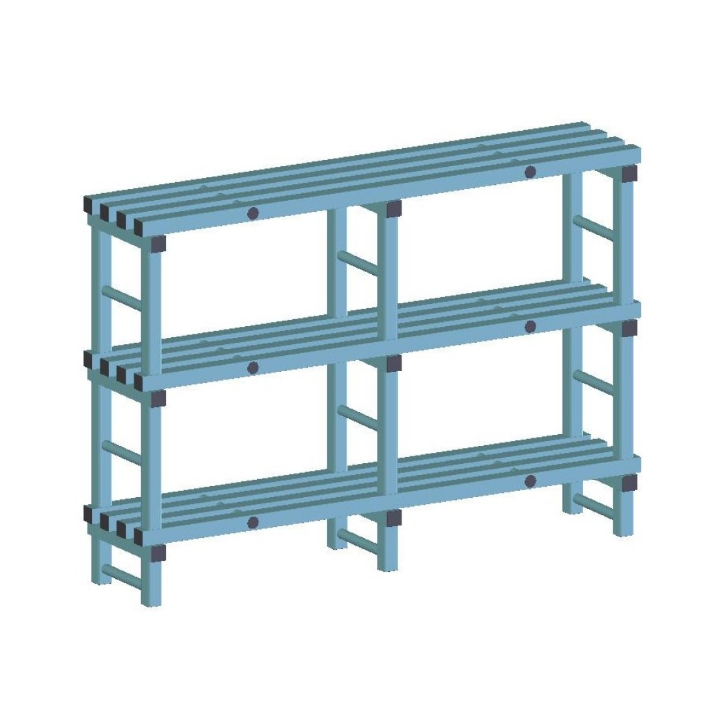 REA Plastic Racking Static 1500 x 400 x 1050mm - 3 shelf
