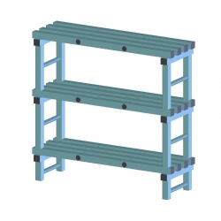 REA Plastic Racking Static 1200 x 400 x 1250mm - 3 shelf