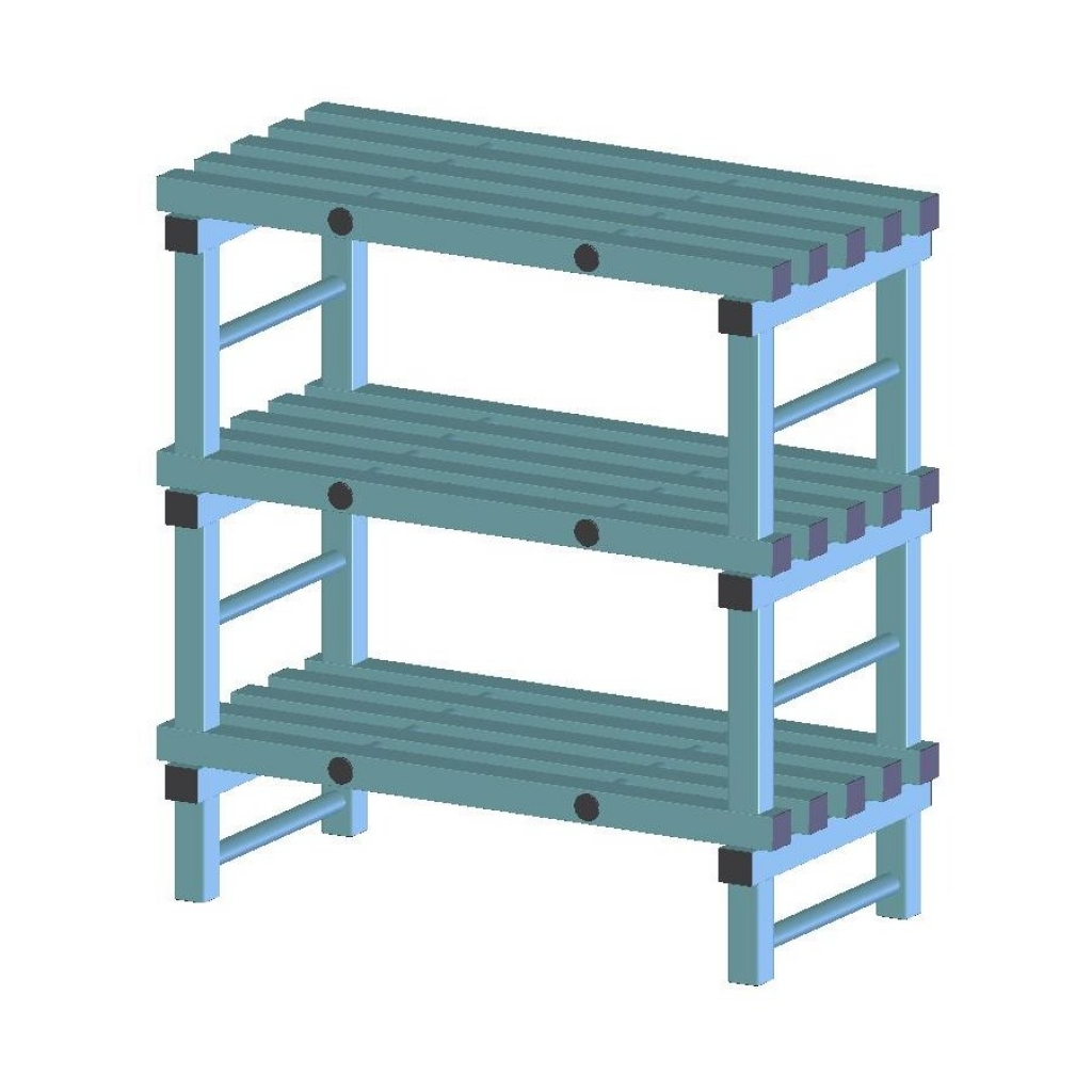 REA Plastic Racking Static 1400 x 500 x 1050mm - 3 shelf