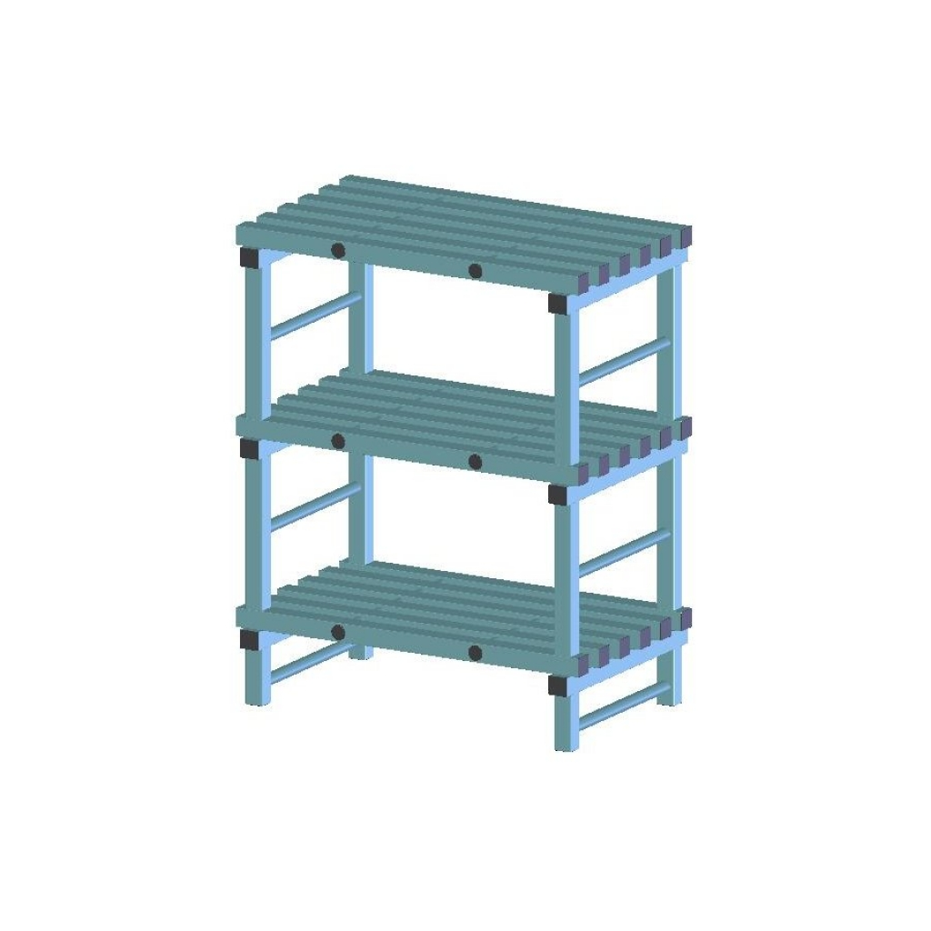 REA Plastic Racking Static 1000 x 600 x 1050mm - 3 shelf